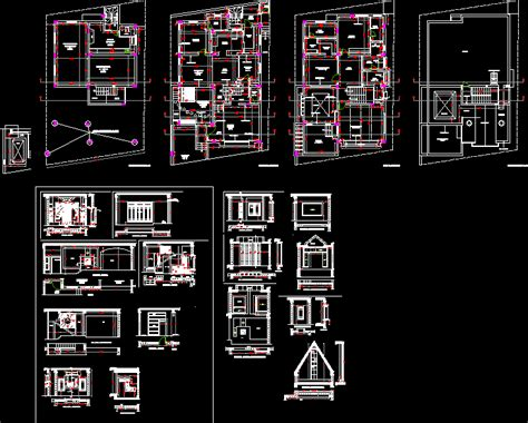 bedroom bungalow row house dwg detail  autocad