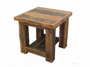 Reclaimed barn wood post end table white cedar barnwood for Reclaimed wood end table