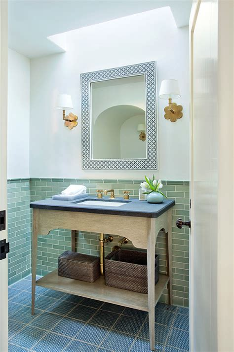 Powder Room With Skylight And Green Wall Tiles
