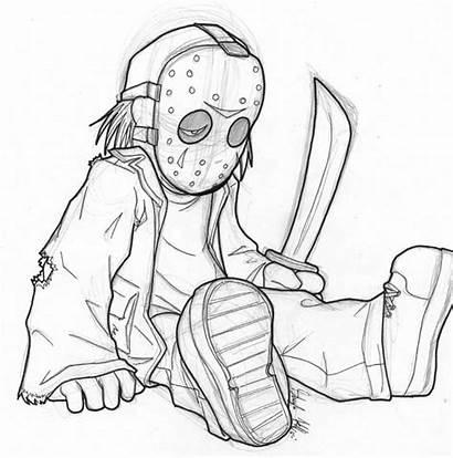 Jason Coloring Voorhees Pages Drawing Vorhees Horror