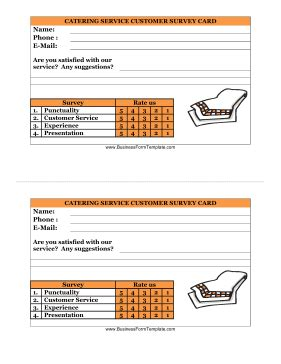 Catering Questionnaire Template by Catering Service Customer Survey Card Template