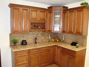 Brown Wooden Curving Kitchen Cabinet With Cream Marble
