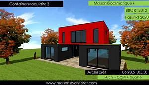 maison toit plat et toiture terrasse bac acier ou siplast With plan maison avec patio 17 maison container modulaire ossature bois d architecte