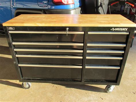 home depot garage husky 52 in 10 drawer mobile workbench with solid wood