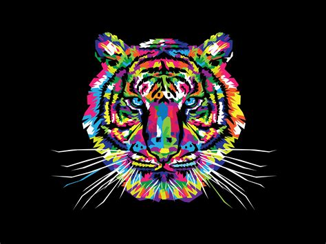 Digital Tiger Wallpaper by Colorfoul Tiger Hd Wallpaper Background Image