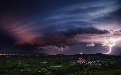 landscape nature lightning storm supercell hill