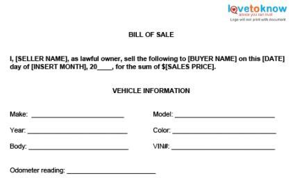 96 Simple Automotive Bill Of Sale