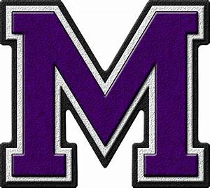 presentation alphabets purple varsity letter m With varsity letter m