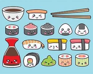 Premium Vector Clipart Kawaii Sushi by LookLookPrettyPaper ...