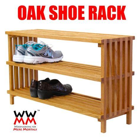 oak shoe rack  plans    video storage  organization   home pinterest