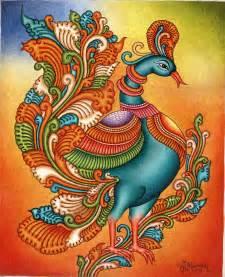 kerala mural painting handmade south indian nature bird