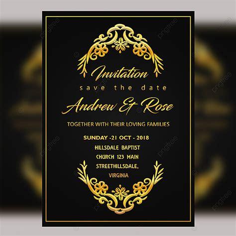 Black Vintage Wedding Card Template Psd With Gold Frame