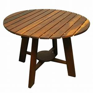 Sergio rodrigues exotic wood round outdoor dining table at for Outdoor wood dining tables