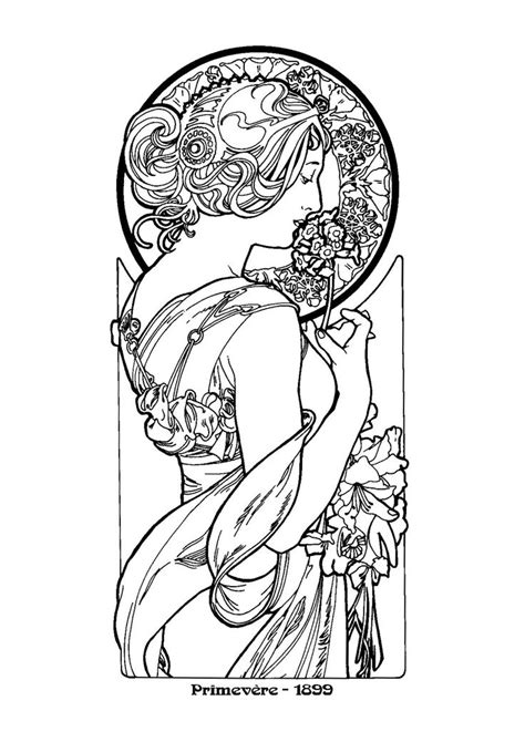 Alphonse Mucha Coloring Pages Nouveau mucha colouring