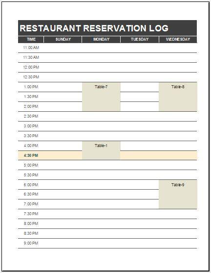 restaurant reservation log template ms excel excel templates