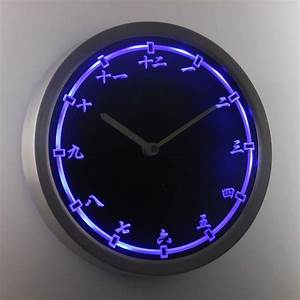 Night Light Wall Clock Nc0955 B Chinese Japanese Numerals Kanji Neon Sign Led