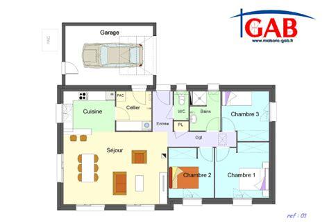plan maison plain pied 3 chambres avec garage plan maison plein pied 3 chambres gratuit