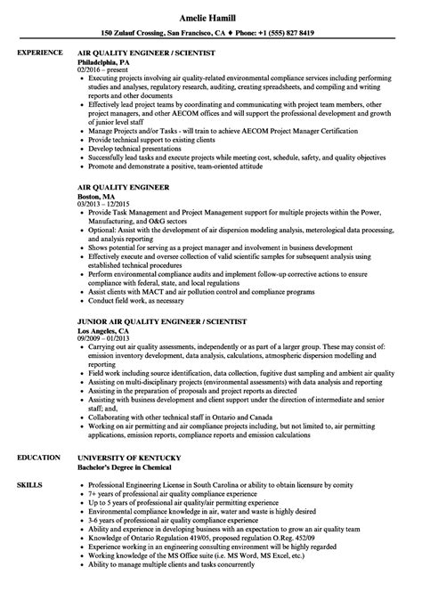 Quality Engineer Resume by Air Quality Engineer Resume Sles Velvet