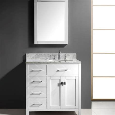 transitional  left drawers single sink bathroom vanity