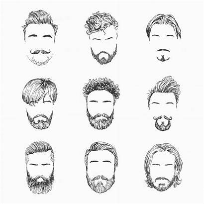 Vector Hairstyles Drawn Illustration Hand Premium Mens