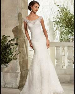 newest cap sleeve lace wedding dress sexy mermaid scoop With scoop neck wedding dress