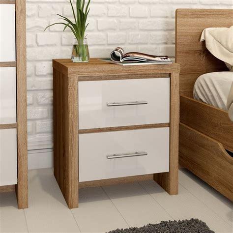 mfi london oak  white gloss  drawer bedside bedroom
