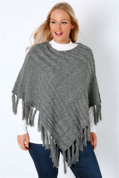 grey cable knitted poncho with tassels plus size to 32