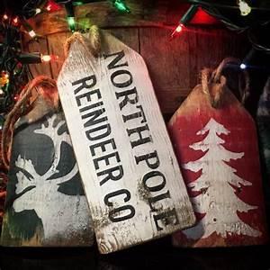 North, Pole, Reindeer, Co, Christmas, Decor, Tree, Wood, Tags, Distressed, Christmas, Tree, Cabin, Christmas