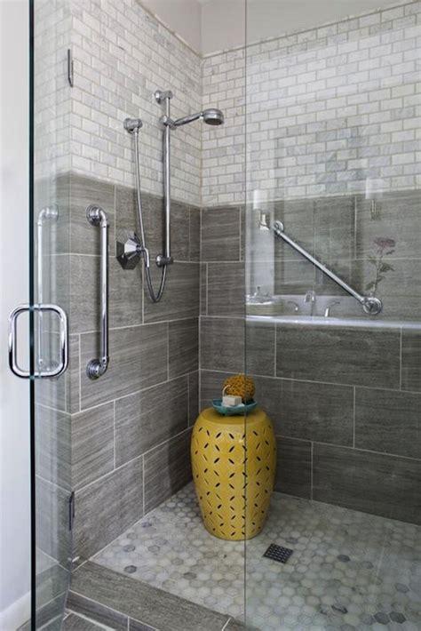 gray shower tiles contemporary bathroom erin glennon