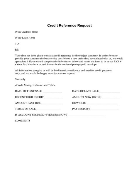 Trade Reference Request Form Template Free by Credit Reference Form 2 Free Templates In Pdf Word