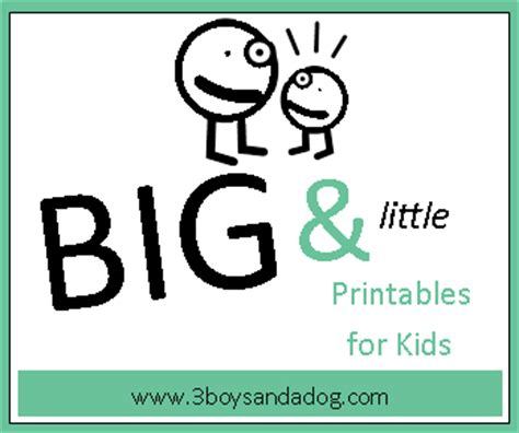 big and worksheets 3 boys and a 459 | big and little worksheets