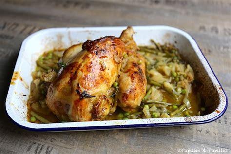 poulet cocotte rôti au fenouil aux petits pois et