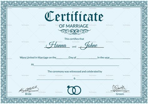 formal marriage certificate design template  psd word