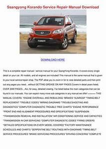 Ssangyong Korando Service Repair Manual Downl By Edie