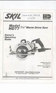 Skil Model Hd77 Worm Drive Saw Owners Manual With Parts