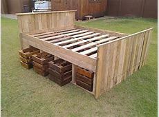 Pallet bed frame 2 with drawers beneath the base