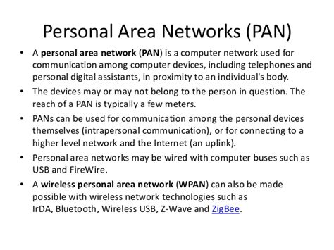 personal area networks pan