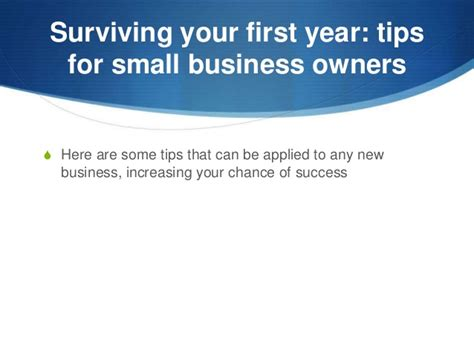 Surviving Your First Year Tips For Small Business Owners