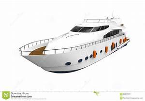 Yacht De Plaisir Blanc D'isolement Sur Le Fond Blanc ...