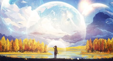 Wallpaper Nature Anime - artwork anime mountain moon forest