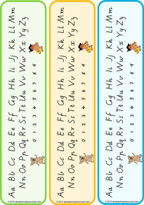 year  handwriting letter formation table cards vic
