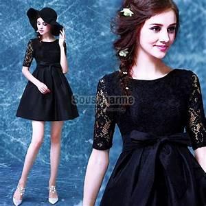 robe de cocktail pas cher chic en satin noir avec col rond With robe de cocktail combiné avec hipanema noir