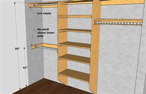 closet shelving pole dimensions via thisiscarpentry