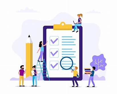 Project Management Check Flat Concept Marks Template