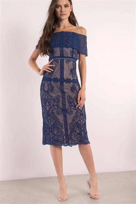 royal blue dress ots dress long embroidered dress