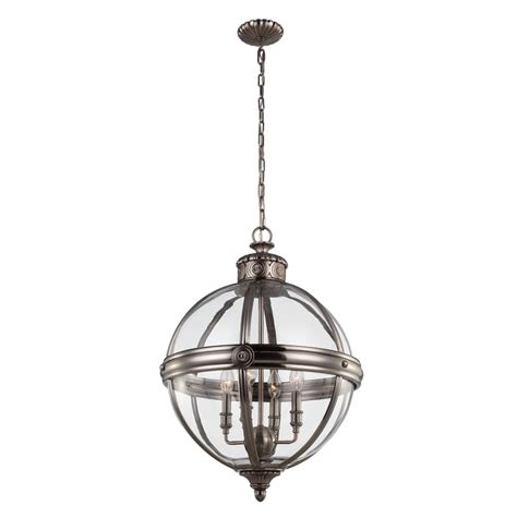 Globe Chandelier Lighting by Nickel Pendant Globe Light Chandelier 4