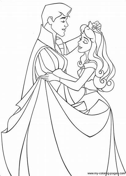 Sleeping Coloring Beauty Pages Aurora Phillip Prince