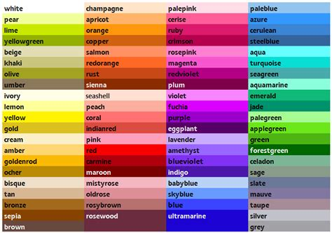 list of colors colour list chart and