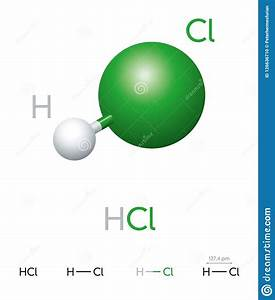 Hcl Hydrogen Chloride Molecule Model And Chemical Formula