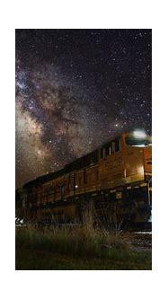 Yellow train, train, night, lights, Milky Way HD wallpaper ...